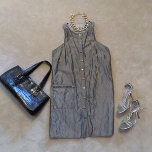 WALTER GRAY SNAP FRONT SLEEVELESS SHEATH DRESS